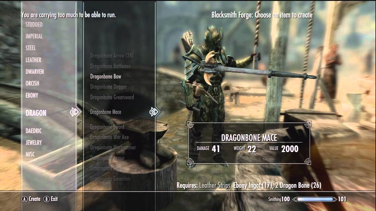 Skyrim Dawnguard Dragon Bone Weapons Smithing Tips Youtube