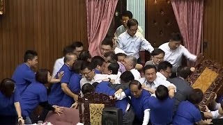 Lawmakers injured in Taiwan parliamentary brawl