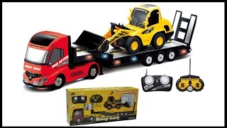 RC Semi Trailer Truck Backhoe RC Dump Truck Toy Unboxing Playtime and Review