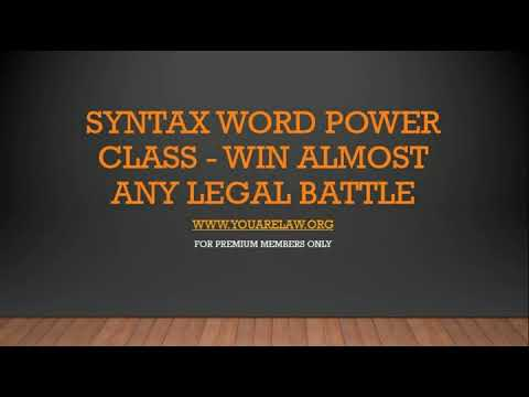 Using Syntax Word-Power to Win A Legal Matter