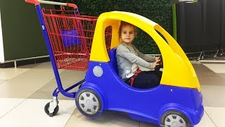 Алина КАК МАМА в супермаркете за покупками  Doing Shopping in Supermarket Видео для детей KIDS
