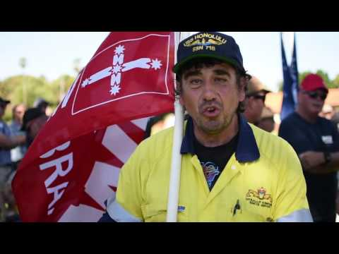 AMWU members march in support of Australian shipbuilding