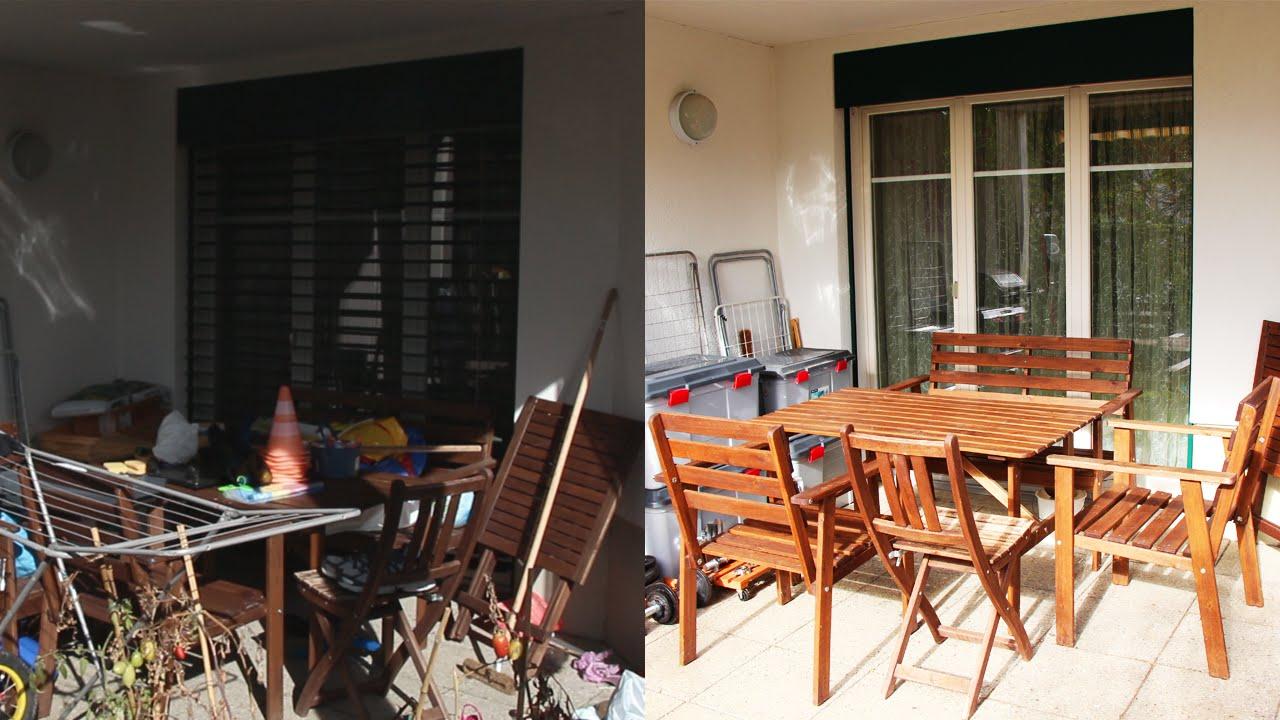 organisieren und aufr umen vorher nachher terrasse youtube. Black Bedroom Furniture Sets. Home Design Ideas
