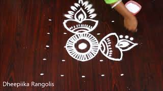 very easy  deepam rangoli design with 5x5 dots l small kolam design l Apartment rangoli designs