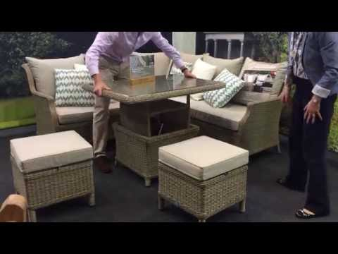 Adjustable Rattan Garden Dining Table To Coffee Table