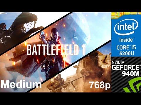 Battlefield 1 on HP Pavilion 15-ab032TX, Med Setting 768p, Core i5 5200u + Nvidia Geforce 940m