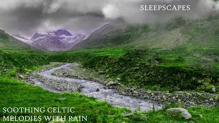 10 Hours Relaxing Celtic Music with Rain and Distant Rolling Thunder: Sleep, Study, Meditation Music