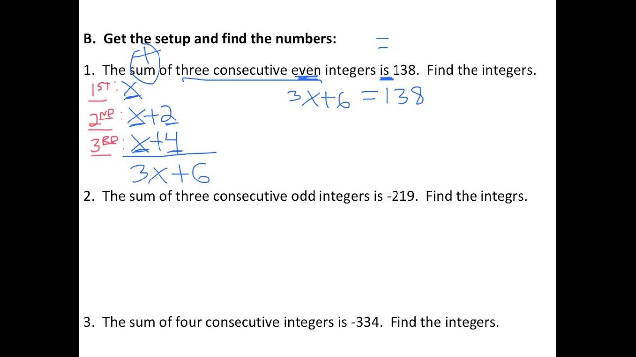worksheet Integer Problems solve consecutive even integer word problems youtube problems