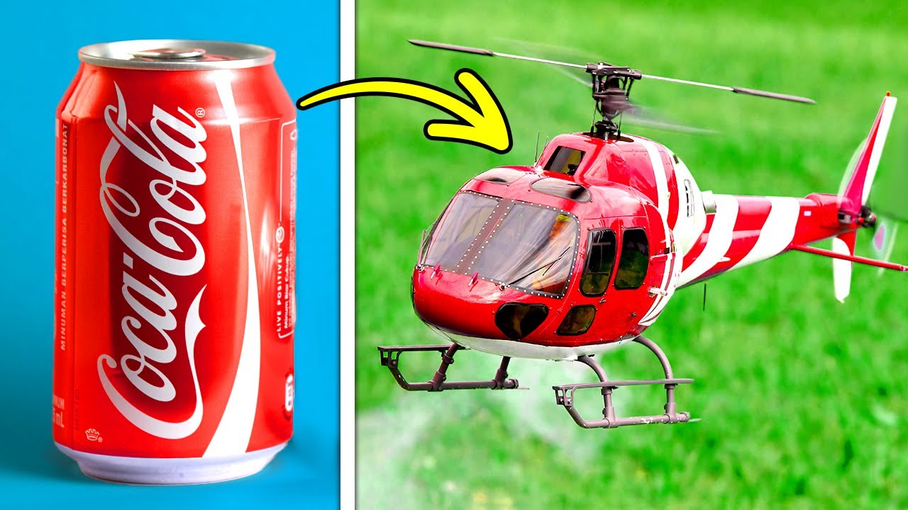 COCA-COLA HELICOPTER    Fantastic Recycling DIYs And Mini Crafts    Plastic, Metal, Cardboard