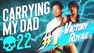 FaZe H1ghsky1 carries his dad to first win in fortnite... | 22 KILL SOLO DUO