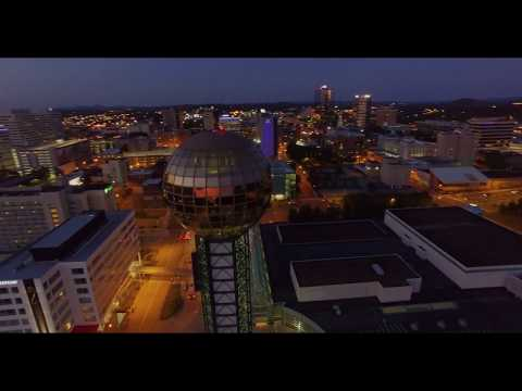 Knoxville Sunsphere at night Drone 4K