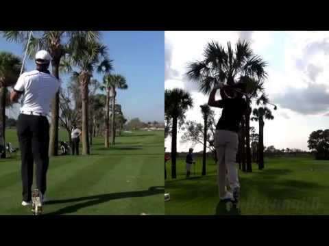 TIGER WOODS vs ADAM SCOTT 2014: SYNCED IRON DRIVES WITH BALL FLIGHT SLOW MOTION 1080p HD