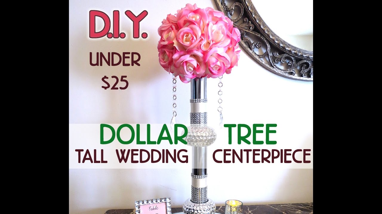 D I Y Dollar Tree Bling Elegant Tall Wedding Centerpiece 20