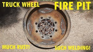 How to make a fire pit from a rusty old truck wheel with a $100 eBay stick welder