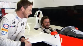 Driving the MP4/4 - Jenson and Fernando reaction