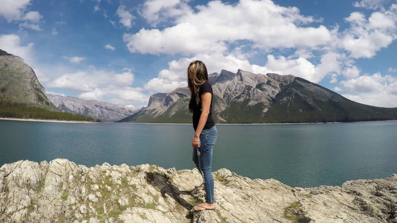 Hiking at lake minnewanka banff ab youtube for Fishing in banff