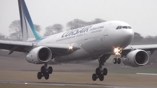 Corsair Airbus A330-243 F-HCAT Landing & Takeoff at Edinburgh Airport (EDI-EGPH) with ATC