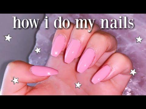 how i do my nails at home | DIY fake nails *no acrylic*