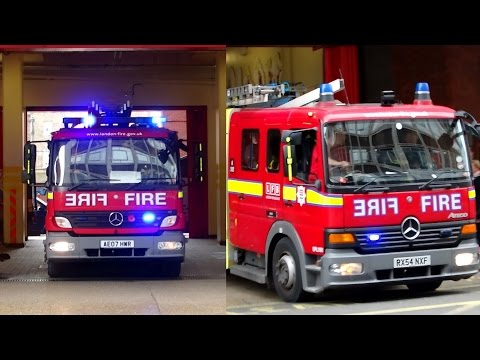 London Fire Brigade Soho Pump A242 & Pump Ladder A241 Mercedes Ategos responding