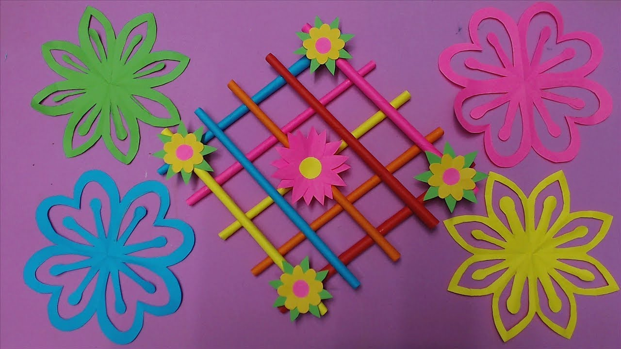 How To Make Wall Hanging Decoration With Color Paper Diy