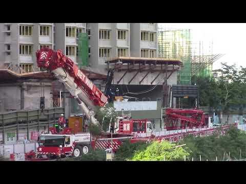 Set Win LTM1350-6.1 + 35m luffing jib dismantling CSC M315