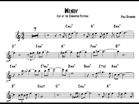 Paul Desmond  alto saxophone transcription on Wendy