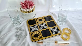 #1131 Gorgeous Resin TIC TAC TOE Board In Black, Silver And Gold