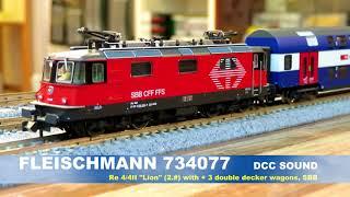 """FLEISCHMANN  N 734077 DCC SOUND Re 4/4II """"Lion"""" &  3 double decker wagons, SBB"""