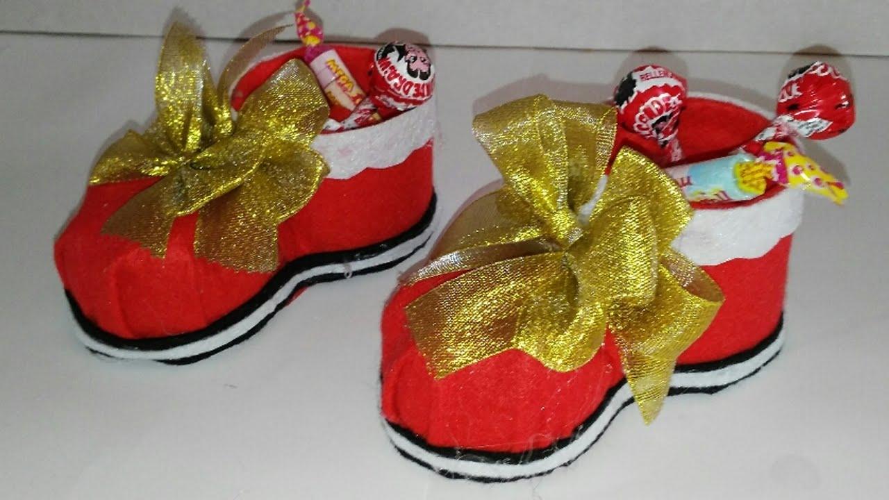 Como hacer un dulcero de bota de navidad adornos navide os - Como hacer cosas de navidad ...