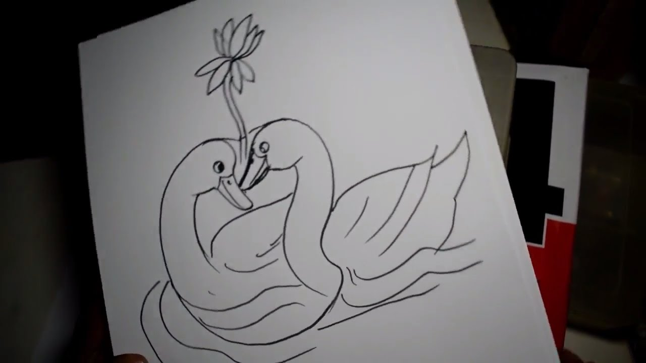 Duck love pen drawing sketch art