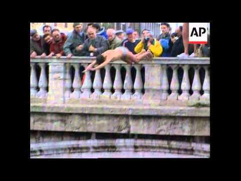 Italy - Trio's New Year's Eve Dive Into Tiber