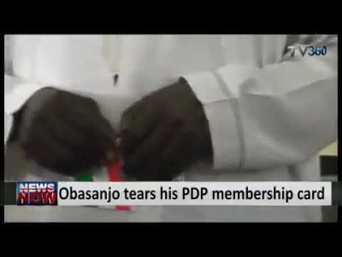 Throwback Video Of When Obasanjo Tore His PDP Membership Card & Campaigned For APC (Watch)