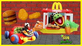 McDonald's Drive Thru Pretend Play Food for Kids! Gus Goes To McDonald Ride On Car Happy Meal