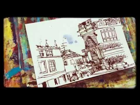 Watercolor painting demo - adding color to an ink sketch