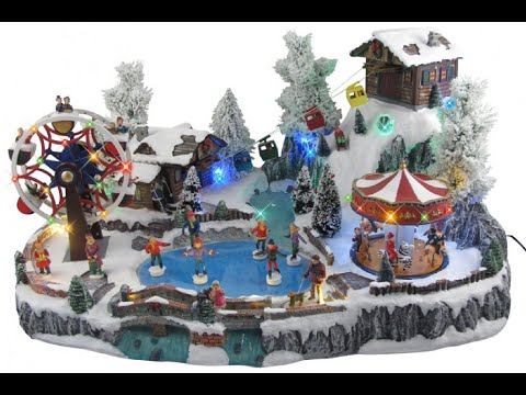 Illuminated, Animated & Musical Winter Resort Village Scene Ornament