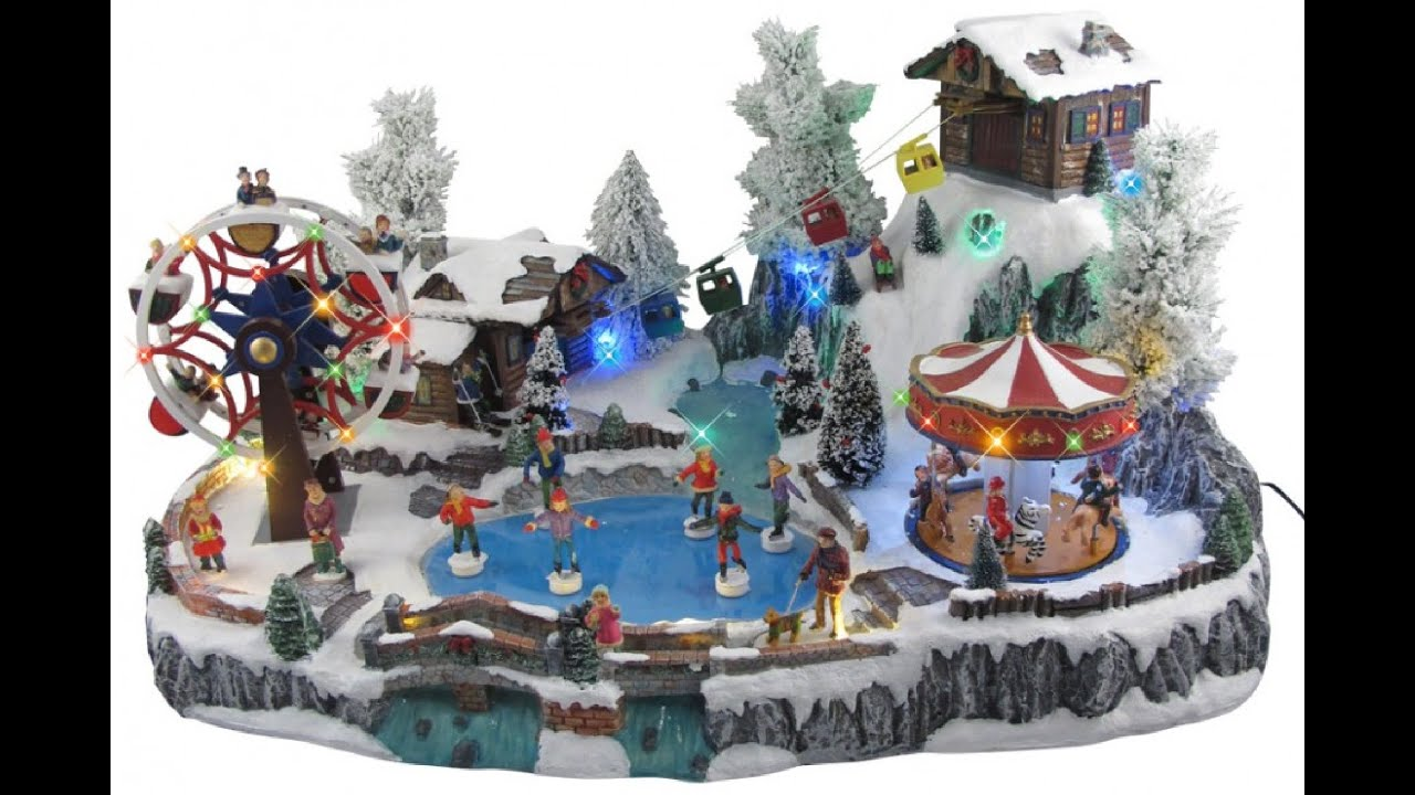Ordinary Christmas Musical Scenes Ornaments Part - 6: Illuminated, Animated U0026 Musical Winter Resort Village Scene Ornament -  YouTube