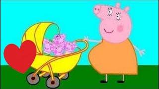 Свинка Пеппа мультфильм - Мама Свинка беременная, родила малышей