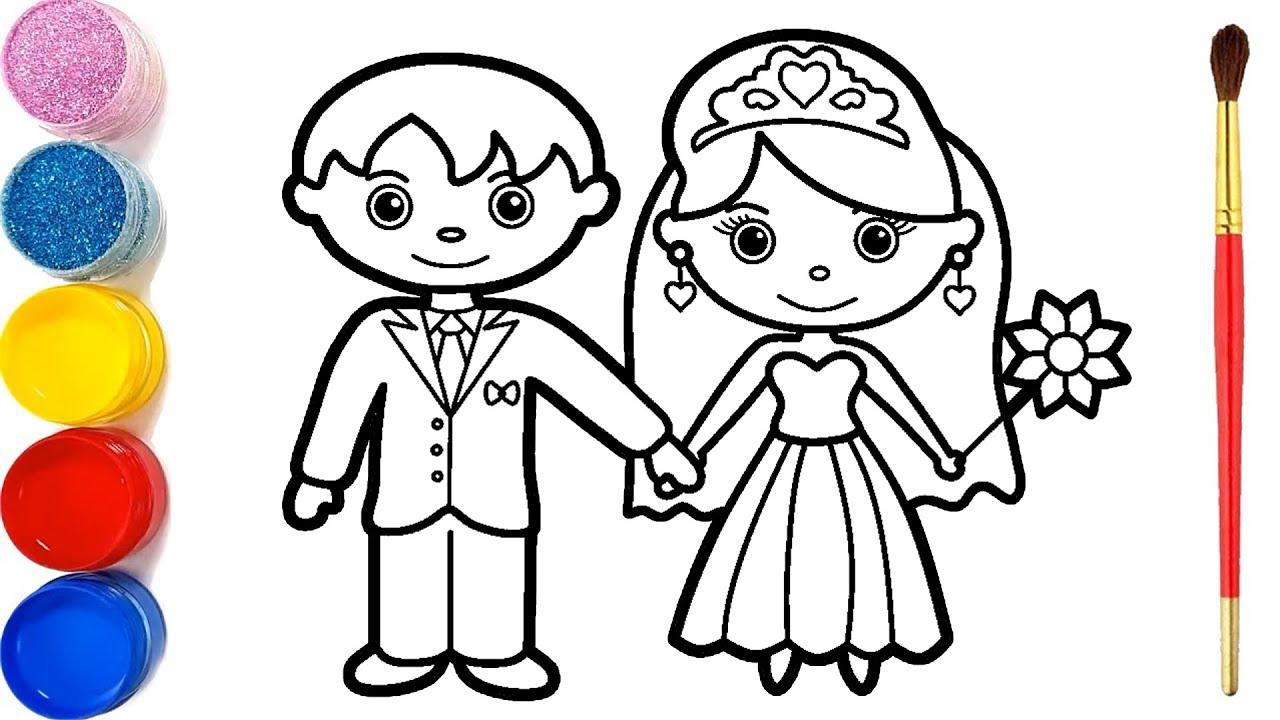 Glitter Bride and Groom Coloring Pages For Kids   Mempelai pria dan wanita Halaman Mewarnai