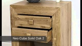 Neo Cube Solid Oak 2 Drawer Bedside Table