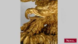 Antique French Empire Gilt Carved Eagle Base Console Table