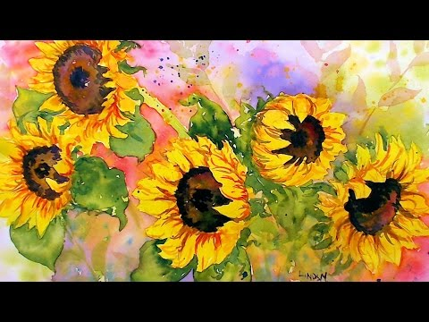 Sunflowers in Watercolor! Real Time Tutorial
