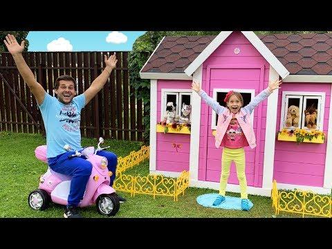София и папа строят детский игровой домик | Sofia and Dad build Playhouse for children