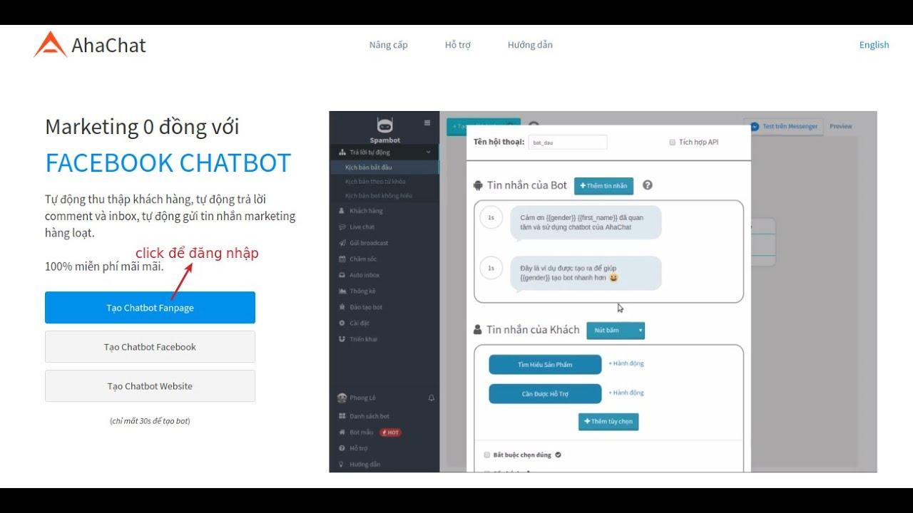 Hướng dẫn Tạo chatbot ahachat tự động trả lời khách hàng hoàn chỉnh tích hợp vào website