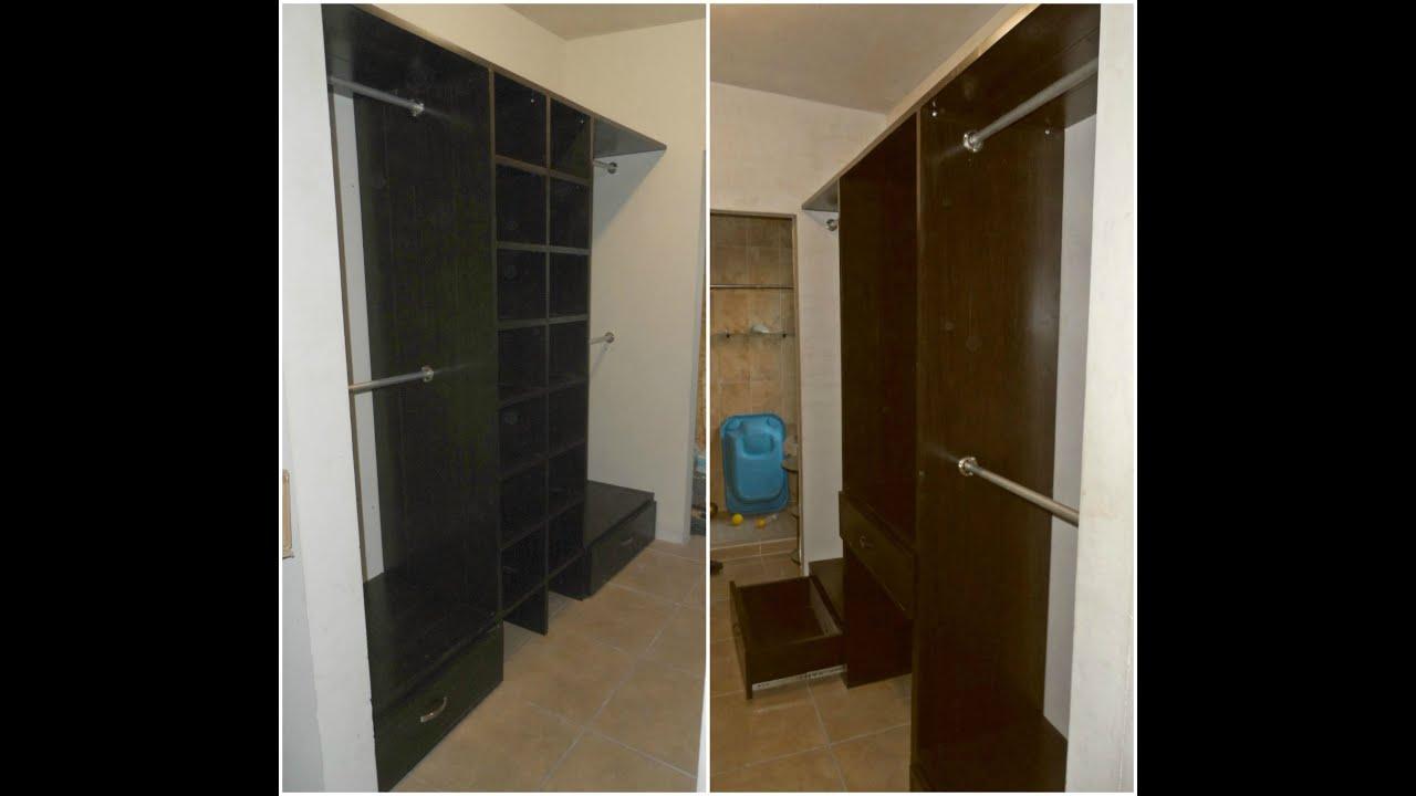 Closet de pvc para vestidor con cajonera y zapatera youtube for Zapateras para closet