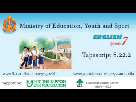 English grade 8 : Chapter 8 Unit 22 - Tapescript 8.22.2
