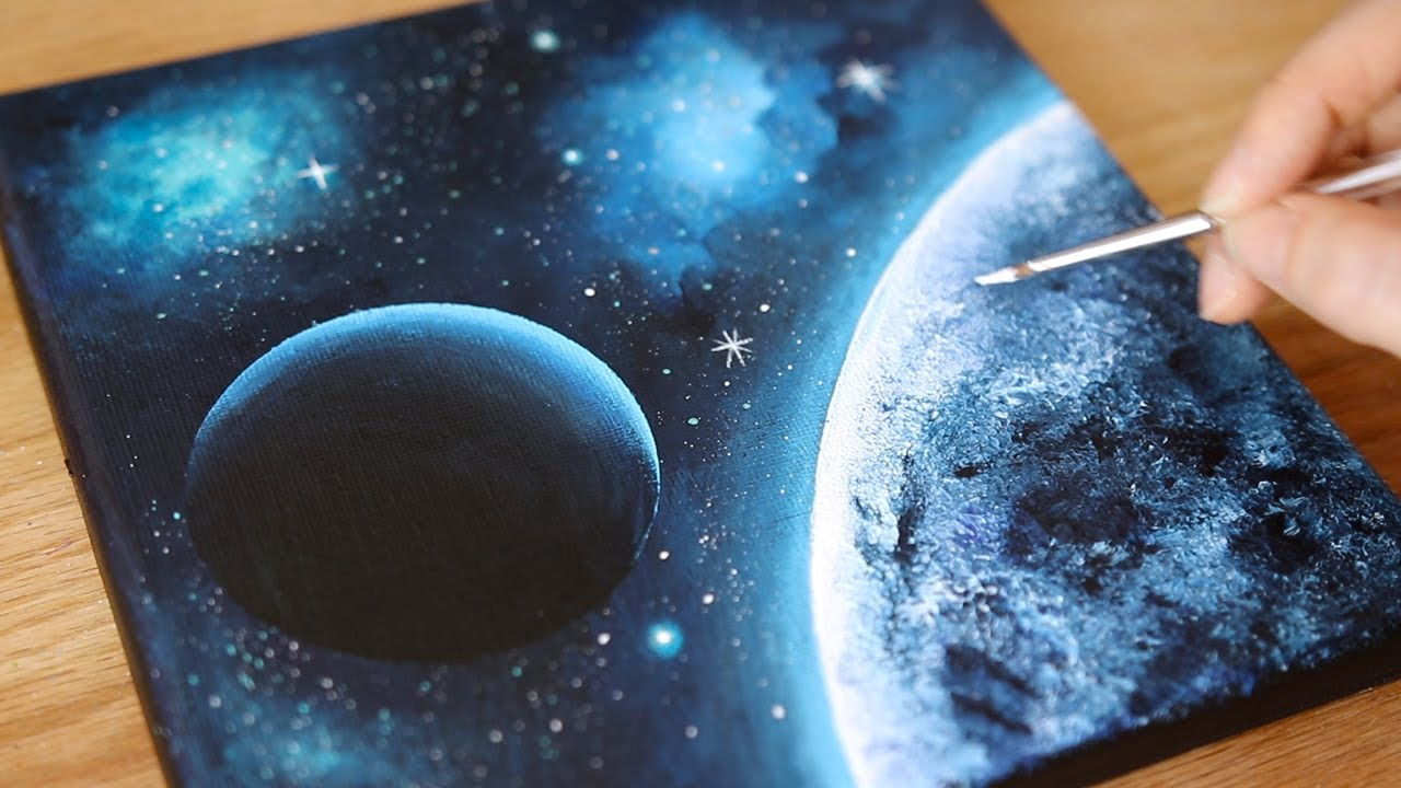 Black Canvas Acrylic Painting Space Painting Painting Tutorial For Beginners 106 Youtube