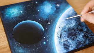 Black Canvas Acrylic painting   Space Painting   Painting Tutorial for beginners  106