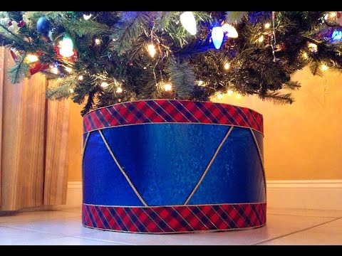 TREE SKIRT ALTERNATIVE: Create a DRUM as your Christmas Tree Stand for less than $10!