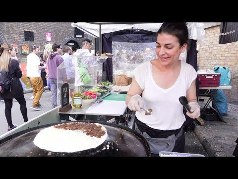 Saj Flatbread from Lebanon Seen and Tasted in London. Street Food of Brick Lane