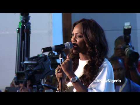Tiwa Savage singing the Nigerian National anthem at the APC summit